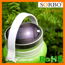 Solar Panel Waterproof IP66 Folding Silicone Water Bottle LED Camping Hanging Light