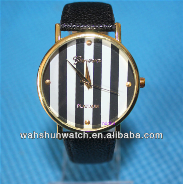 Dongguan watch factory produced PU leather strap big dial UNISEX watches for promotional