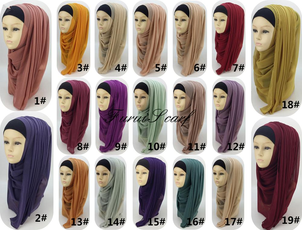 High Quality Muslim Hijab Plain Georgette Scarf Islamic Headwear Big Size Long Shawl Wraps Scarves