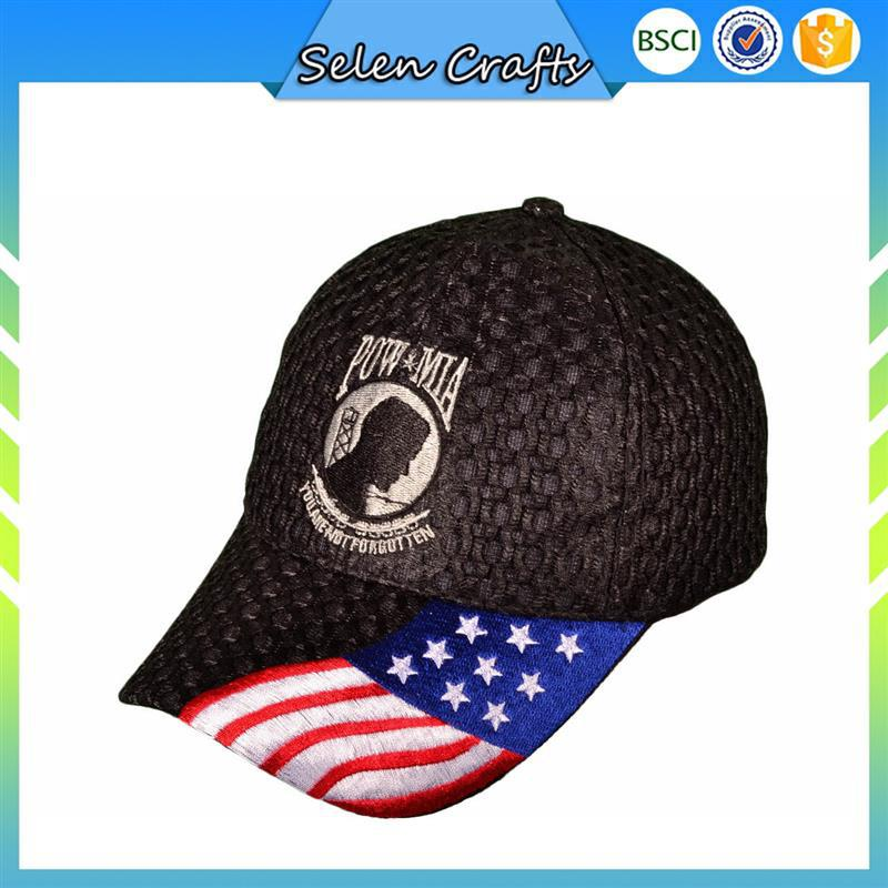 Pu Leather Embroidered Military Baseball Hats With USA Flag Embroidery