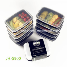 BPA free rectangular black resuable plastic food containers