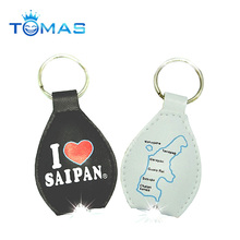 wholesale and popular promotional leather led light keychain