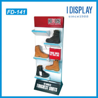 Customized Cardboard Advertising Toughest Boots Display Stand For Shoes With Four Color Printing