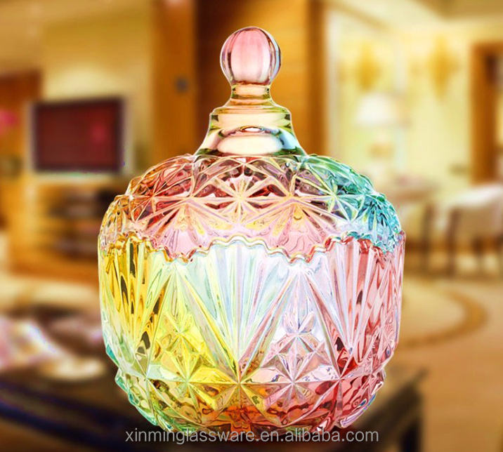 Wholesale Colorful Artistic Sugar Jar Glassware From China Factory