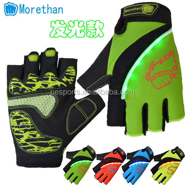bicycle gloves with lights LED , outdoor sports bike gloves , cycling gloves with reflector