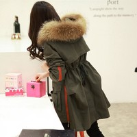2016 China Supplier Water Proof Winter Muskrat Fur Military Down Coat