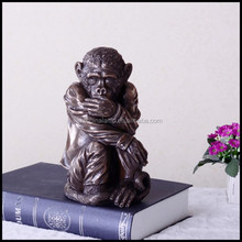 Low Price Resin Vivid Monkey Interior Animal Figurine Sculpture With Black Stand And Different Action For Used Hotel Furniture