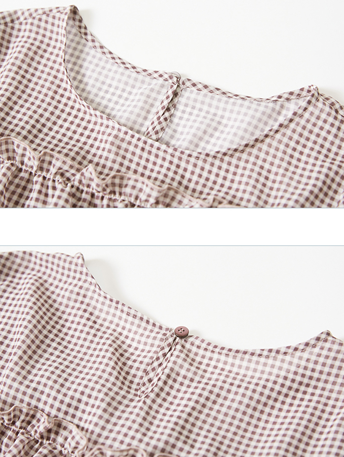 Ladies Short Sleeve Plaid Blouse With Ruffle