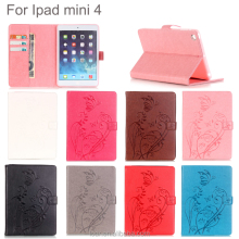 Pink Pu Leather Cover Case For Ipad Mini 4 Sleeve New Arrival Embossed Butterfly