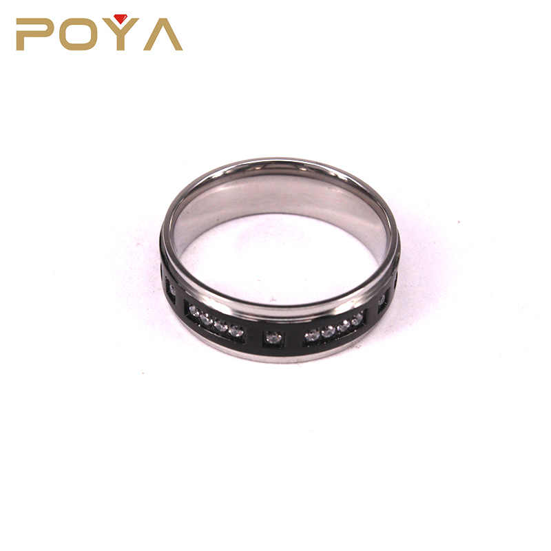 POYA Jewelry Fashion Gemstone Wedding Bands Black Titanium Ring High Polished Step Edged With CZ Gemstones For Men Women 8mm