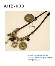 new arrive ancient style leather cord necklace, special design necklace for women