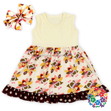 Little turkey printed cotton dress for baby girls thanksgiving frocks designs wholesale new model girl dress