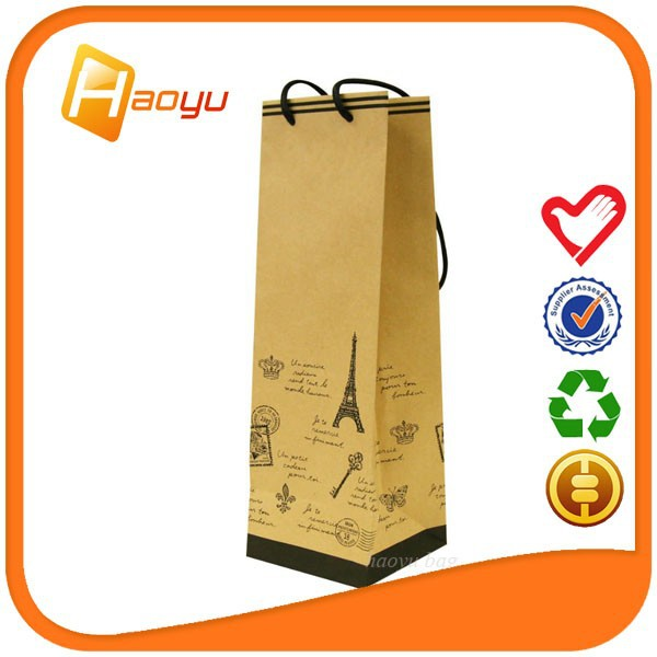 Promotional organic single paper wine bag as bottle bag