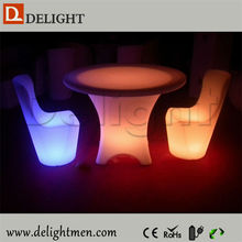 Good price glow up plastic 16 color changing rechargeable illuminated table and chair for restaurant