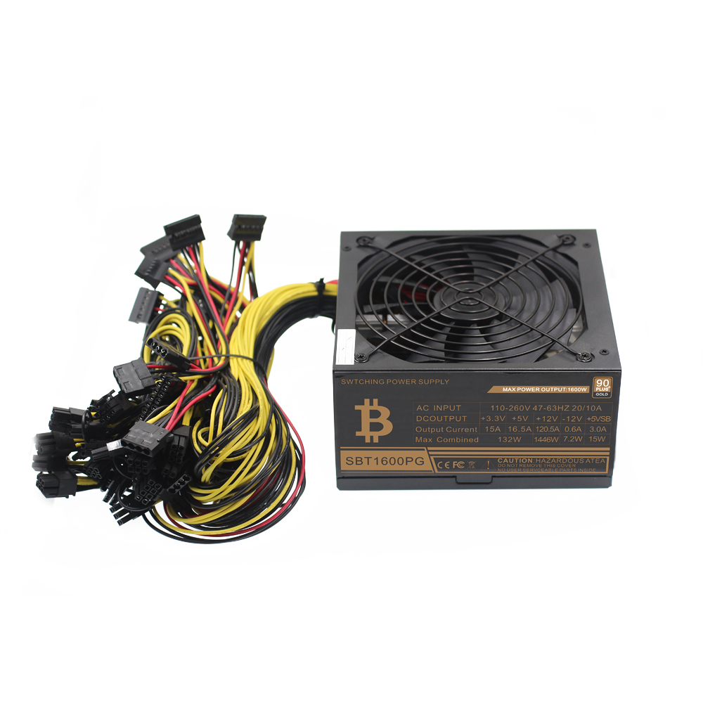 Hot sale ATX psu 1600w gold power supply for eth rig ethereum coin miner mining 6GPU rx480 rx470 rx580 rx570