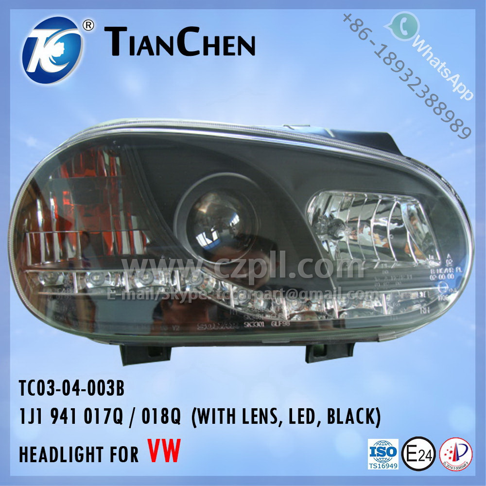 HEADLIGHT for GOLF 4 / LENS AND LED 1998 - 2002 BLACK 1J1 941 017 Q / 018 Q - 1J1941017Q / 018Q