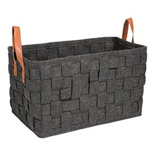 Foldable Knitted Felt Storage Laundry Baskets With Leather Handle