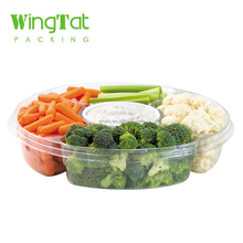 Disposable Plastic 5 Compartment Food Packaging Blister Fruit Vegetable Tray with Lid