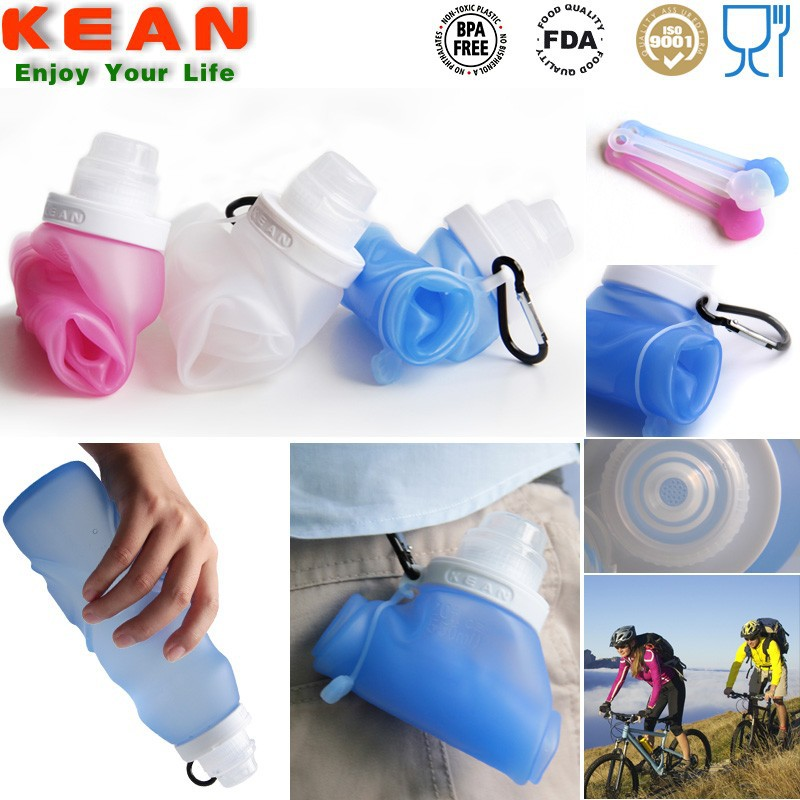 Environmental Outdoor Carabiner Reuseable Foldable Water Bottle
