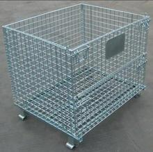 Diffrenet Size Customized Collapsible Metal Folding Wire Storage Cage With 4 Wheels