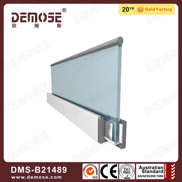 base U channel/shoe aluminum glass railing