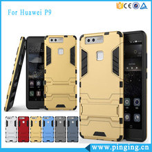 Heavy Duty Kickstand Design PC TPU Hybrid Tough Iron Man Case For Huawei P9 Phone Cases