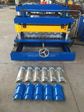 Metal Sheet Roof Ridge Cap Tile Cold Roll Forming Machine With Hydraulic Cutting