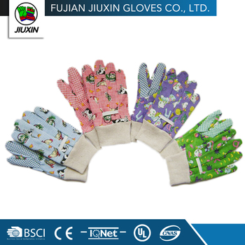 High Quality Safety Colorful PVC dots on palm Kids Gardening Gloves