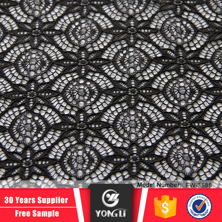 Knitted black circle net african cord lace fabric online shopping
