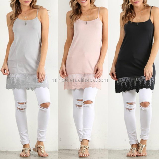 Various Colors Sexy Fashion Women Clothing New Style Western Trendy Tunic Slip Lace Trim Plain Extender For Dress Wholesale