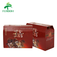 alibaba guangzhou customised design lock bottom E corrugated mushroom gift packaging printing box with handle