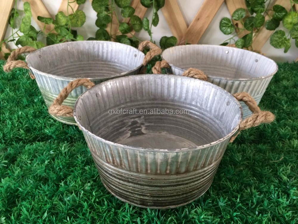 not coated ring emboss galvanizing vintage metal flower pot