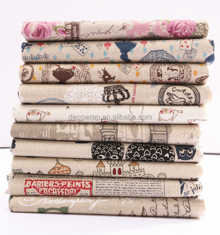 Handmade Linen Striped Cotton Fabric Canvas Cloth Patchwork Decoration Groceries Printed Fabric For Sewing Cut Home Supplies