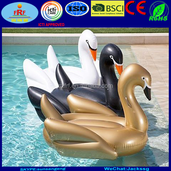 Summer Pool Party Inflatable Gold Swan Float
