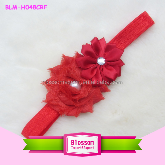 Chiffon Flower Hair Bow Top Baby Headband For Baby Girl wholesale red flowers
