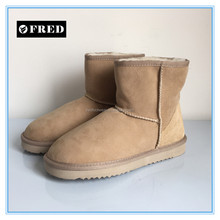 Classy ultra short twin face sheepskin ankle boots for women