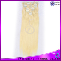 Hot Selling!!! Double Drawn Thick Ends Clip In Hair Extension
