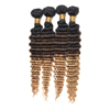 Alibaba wholesale factory price 3 tone color ombre hair , deep wave Brazilian hair