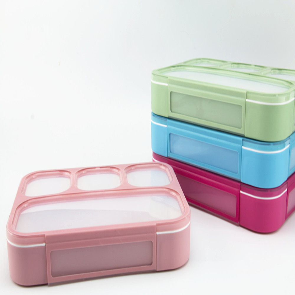 High Capacity Beautiful Bento Lunch Box School Office BPA free Tableware Leak Proof 4Conpartment Plastic Tiffin Lunch Box