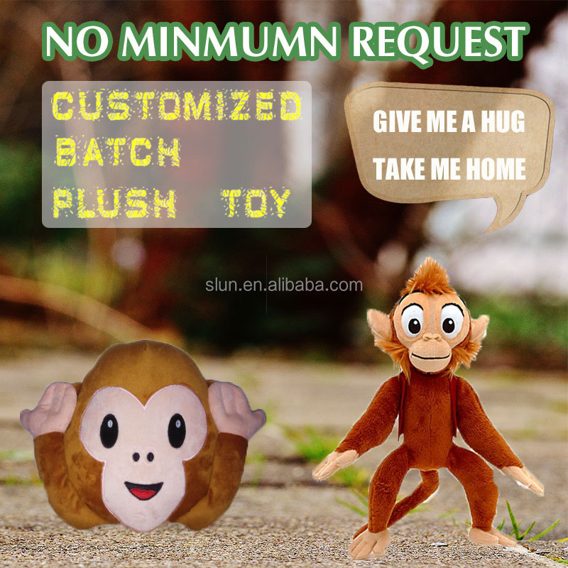 design your own plush toys long arms and legs monkey plush toy custom oem stuffed plush