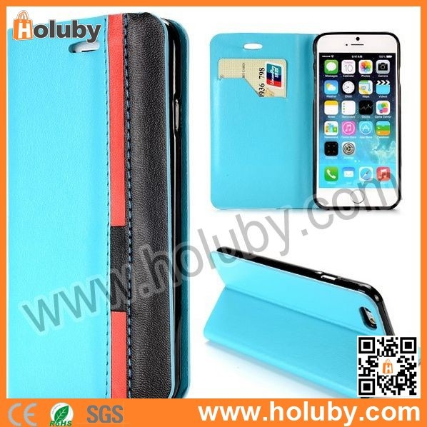 New Arrival Double Color Case for iPhone 6, Stand Card Slot TPU+PU Flip Leather Case for iPhone6 4.7 inch