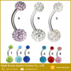 Shamballa Belly Rings 8mm 10mm Steel Curved Bar Belly Navel Ring Piercing