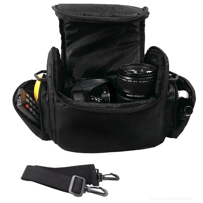Black large polyester video digital waterproof camera bag
