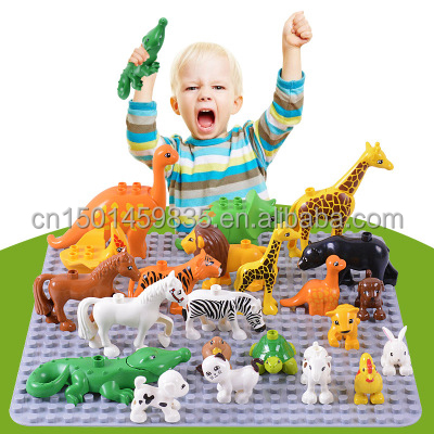 50pcs/set Diy Zoo Animal Series Big Particle Building Blocks Penguin/Fox Kids Baby Toys Compatible with Duplo Gift
