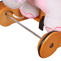 Children Pink Elephant Plush Rocking Horse with Wooden Wheels