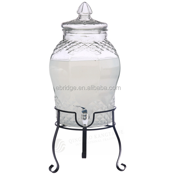 8L Clear GlassJuice Drinking Dispenser Jar