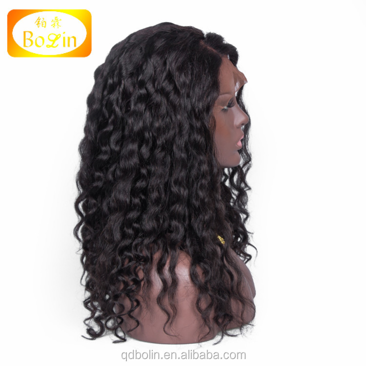 18 Inch Long Wholesale Cheap Side Part Natural Color Curly Afro Indian Human Hair Overnight Delivery Lace Wigs for Black Women
