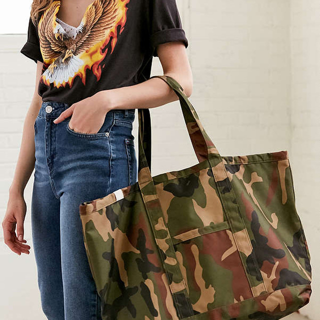 Camouflage polyester tote bag women shopping shoulder bag