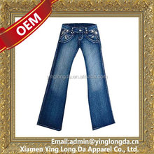 Customized new coming fashion italian grey jeans for women