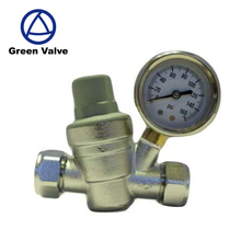 Green-GutenTop Nickle Plated Brass 15MM & 22MM Compression Fitting Water Pressure Reducing Valve PRV with fitted gauge